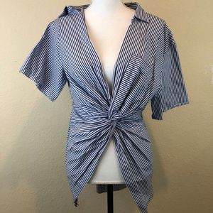 Zara Top Blouse Blue White Stripes Small Front Tie
